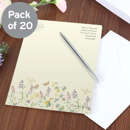 Personalised Country Diary Wild Flowers Stationery Set